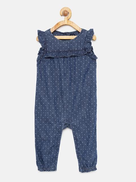GAP Baby Girls' Blue Sleeveless Denim Ruffle Romper