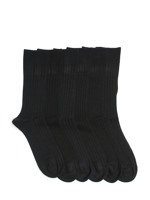 Supersox Men Pack of 6 Black Above Ankle-Length Socks