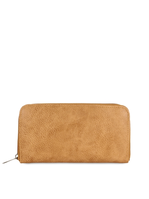 Anekaant Women Beige Solid Zip Around Wallet