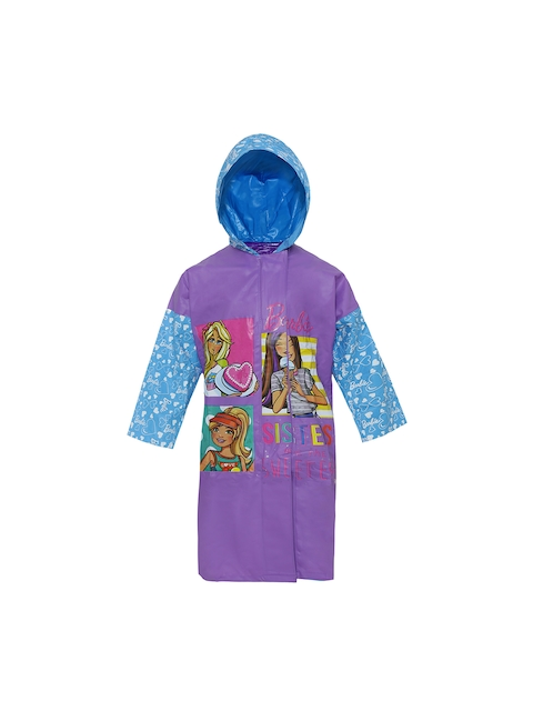 Zeel Girls Purple Printed Neat Fit Hooded Raincoat