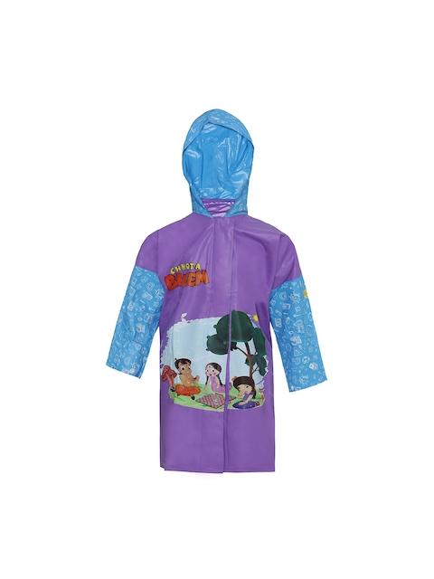 Zeel Girls Purple & Blue Printed Neat Fit Hooded Raincoat