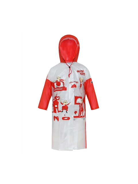 Zeel Girls Red & White Printed Neat Fit Hooded Raincoat