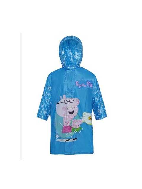 Zeel Girls Blue Printed Neat Fit Hooded Raincoat