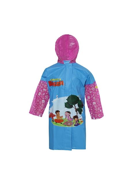 Zeel Girls Blue & Pink Printed Neat Fit Hooded Raincoat