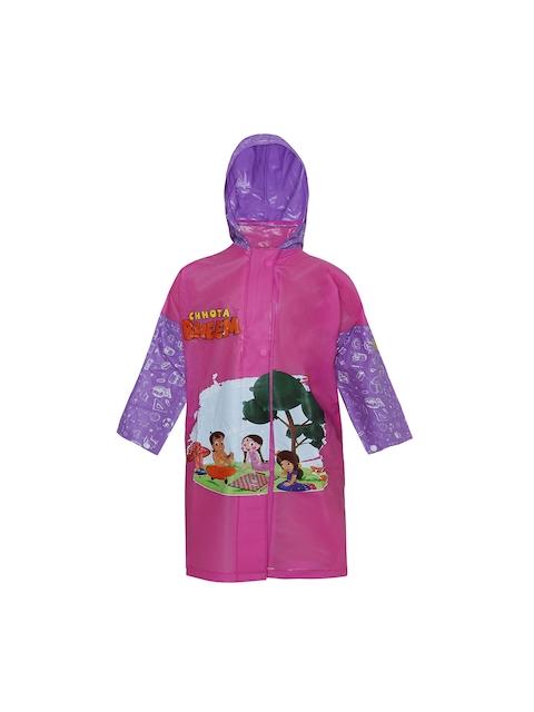 Zeel Girls Pink & Purple Printed Neat Fit Hooded Raincoat