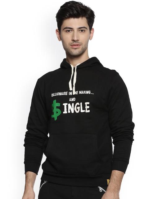 Campus Sutra Men Black Printed Hooded Sweatshirt
