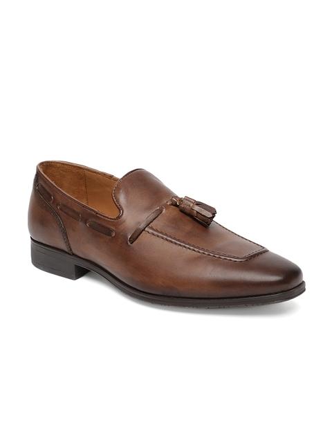 Tresmode Men Tan Brown Solid Leather Formal Slip-on Shoes