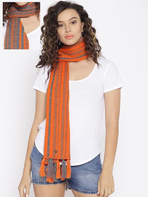 Cayman Women Orange & Grey Melange Striped Reversible Woollen Stole