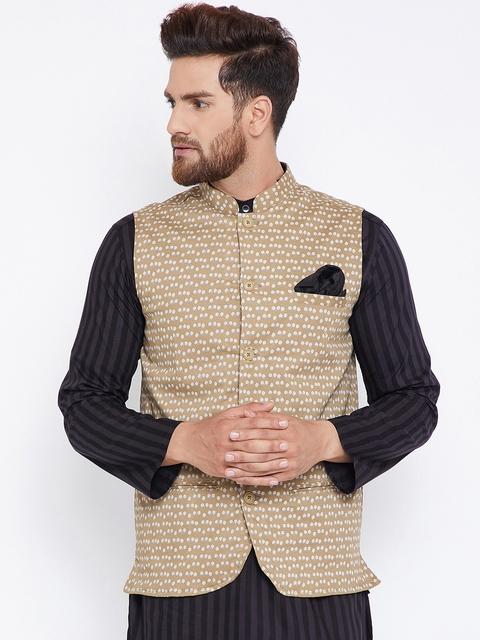 even Men Beige Printed Nehru Jacket