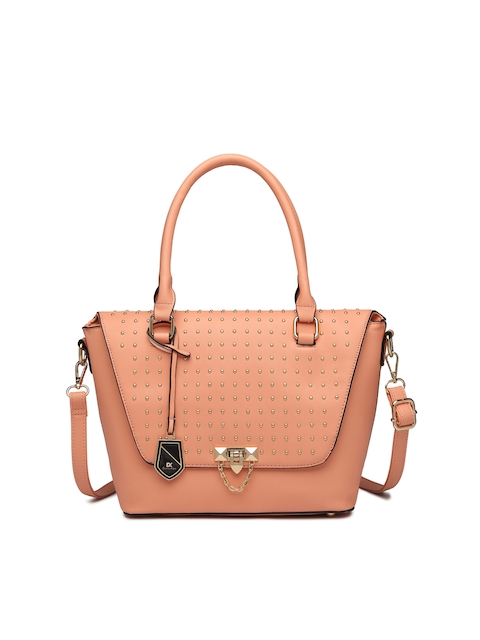Diana Korr Peach-Coloured Embellished Handheld Bag