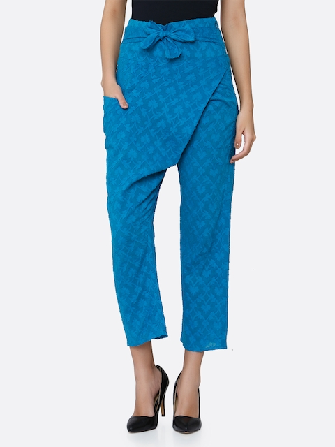 aaliya Women Turquoise Blue Tapered Fit Self Design Cigarette Trousers
