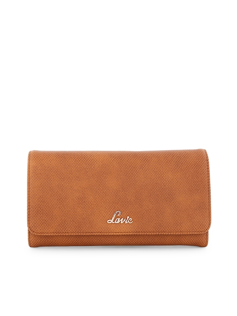 Lavie Women Tan Textured Two Fold Wallet