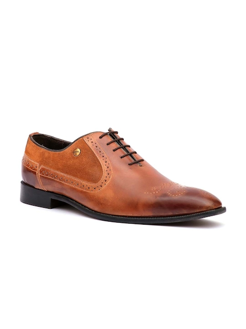 Hitz Men Tan Brown Leather Formal Oxfords