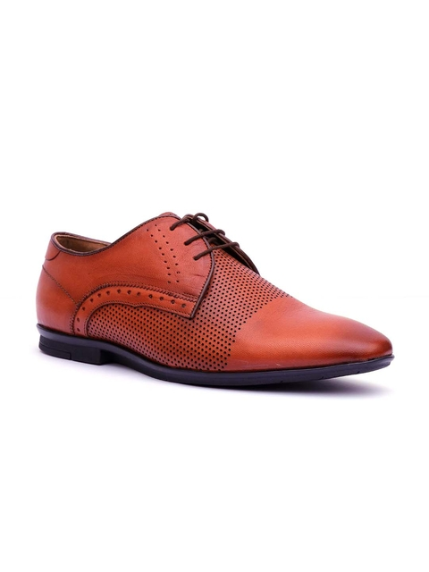 Hitz Men Tan Leather Comfort Fit Derby Formal Shoes