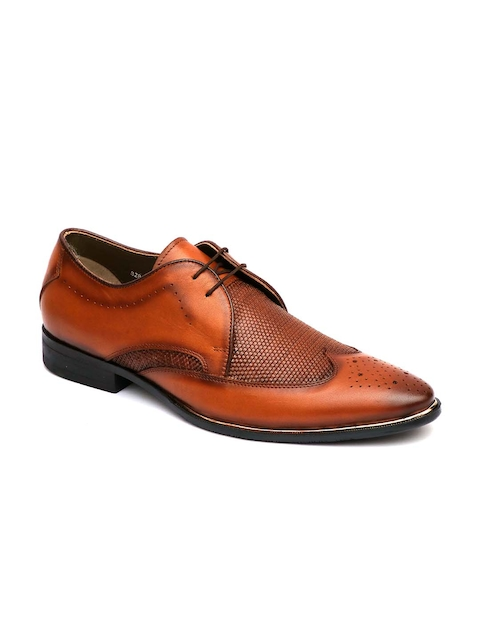 Hitz Men Tan Brown Leather Formal Derbys