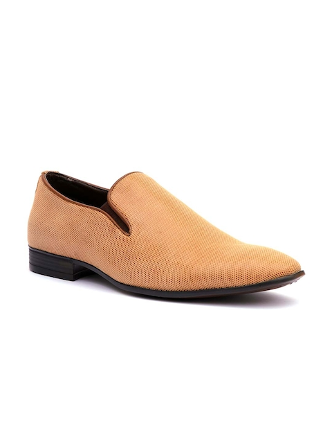 Hitz Men Tan Formal Leather Slip-On Shoes