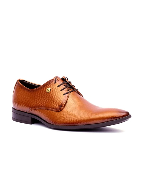 Hitz Men Tan Brown Textured Leather Formal Derbys