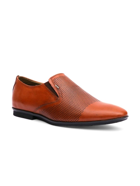 Hitz Men Tan Brown Leather Formal Slip-On