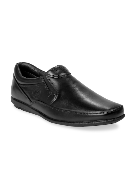 bacca bucci Men Black Leather Formal Slip-On Shoes