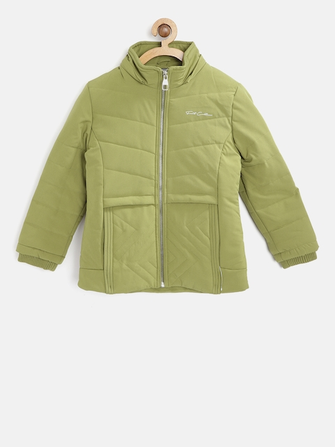 Fort Collins Girls Olive Green Solid Parka Jacket With Detachable Hood