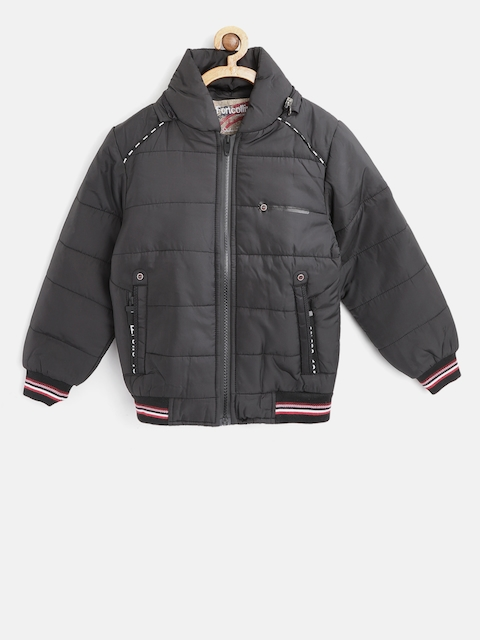 Fort Collins Boys Black Solid Bomber Jacket with Detachable Hood