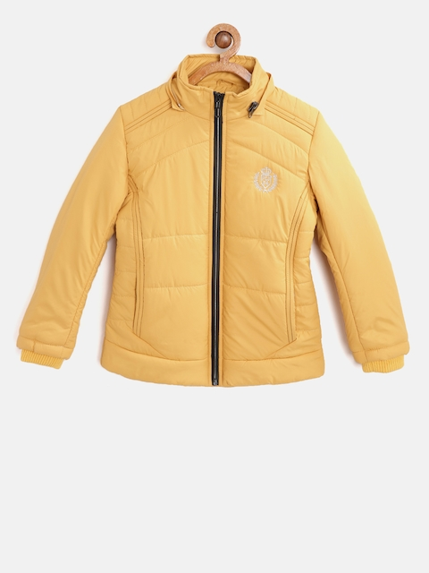 Fort Collins Girls Yellow Solid Parka Jacket with Detachable Hood