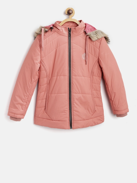Fort Collins Girls Peach-Coloured Solid Parka With Detachable Hood