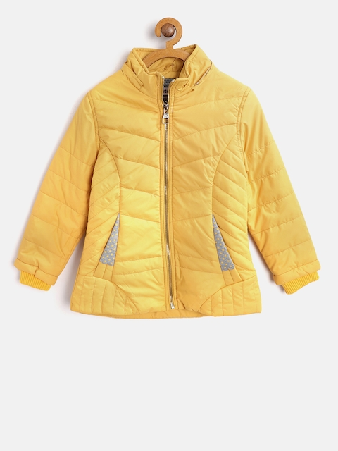 Fort Collins Girls Mustard Yellow Solid Parka Jacket with Detachable Hood