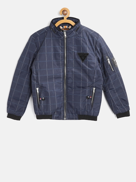 Fort Collins Boys Navy Blue Checked Bomber Jacket