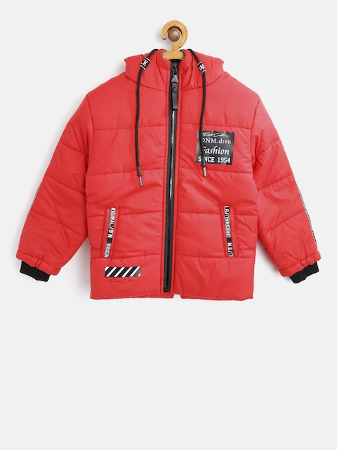 Fort Collins Boys Red Printed Hooded Padded Jacket