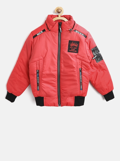 Fort Collins Boys Red Solid Bomber Jacket with Detachable Hood