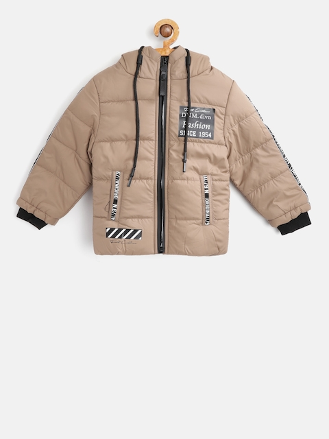 Fort Collins Boys Brown Solid Hooded Padded Jacket