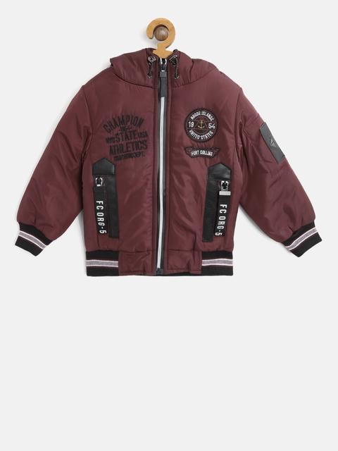 Fort Collins Boys Burgundy Solid Hooded Bomber Jacket