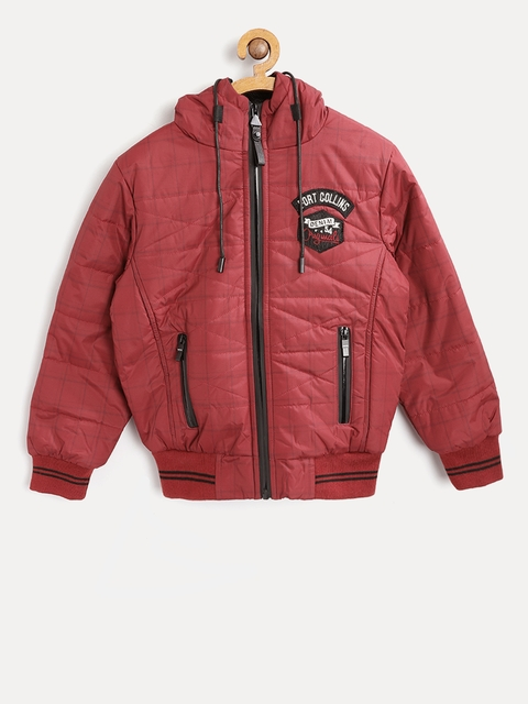 Fort Collins Boys Maroon Checked Quilted Bomber Jacket