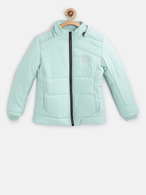 Fort Collins Girls Green Solid Parka Jacket with Detachable Hood