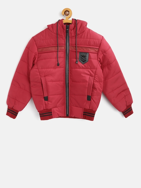 Fort Collins Boys Red Solid Hooded Bomber Jacket