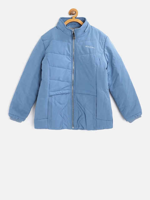 Fort Collins Girls Blue Solid Parka Jacket with Detachable Hood