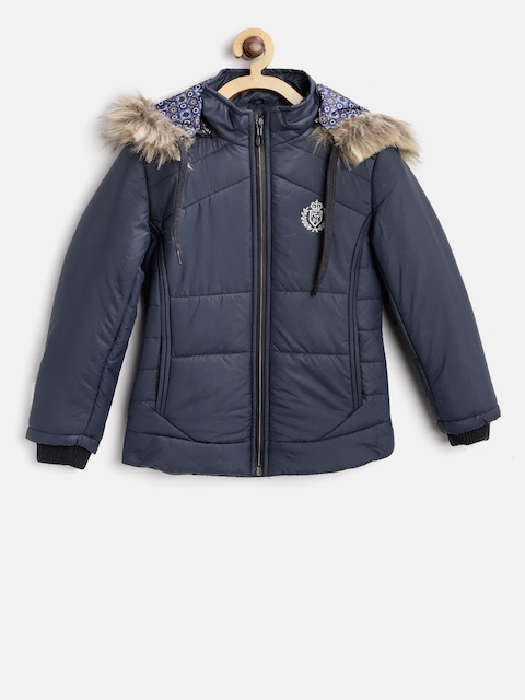 Fort Collins Girls Navy Blue Solid Parka With Detachable Hood