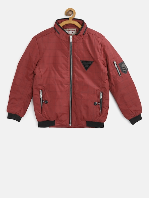 Fort Collins Boys Maroon Checked Bomber Jacket