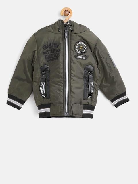 Fort Collins Boys Olive Green Solid Hooded Bomber Jacket