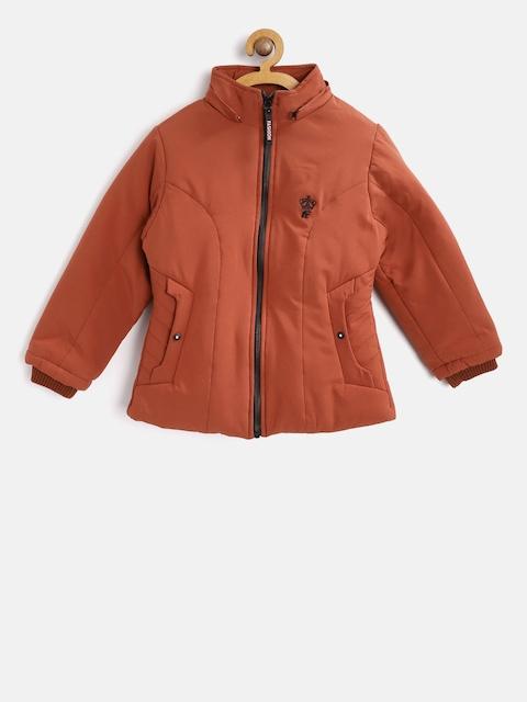 Fort Collins Girls Rust Orange Solid Parka Jacket with Detachable Hood