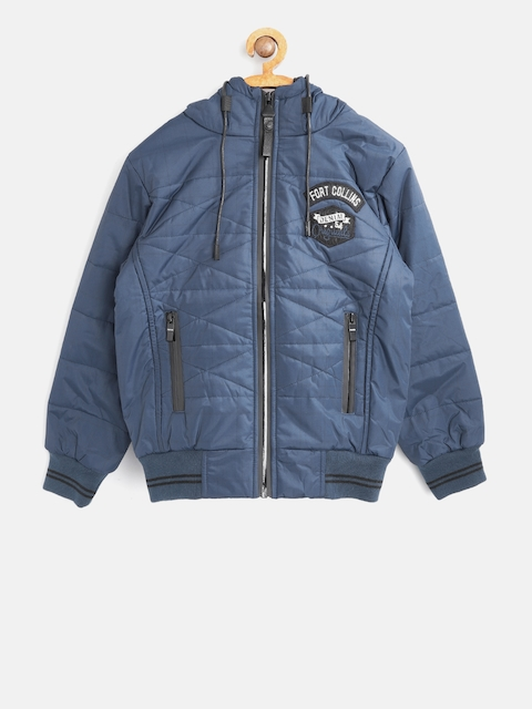 Fort Collins Boys Blue Checked Bomber Jacket