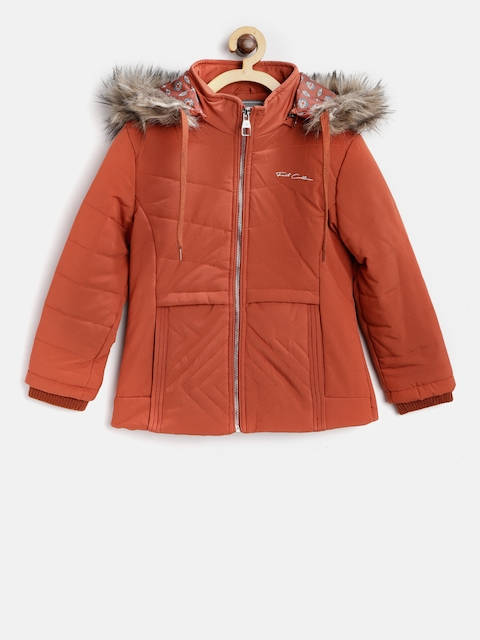 Fort Collins Girls Rust Orange Solid Parka With Detachable Hood