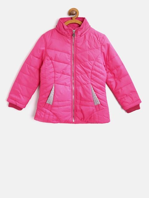 Fort Collins Girls Pink Solid Parka Jacket with Detachable Hood