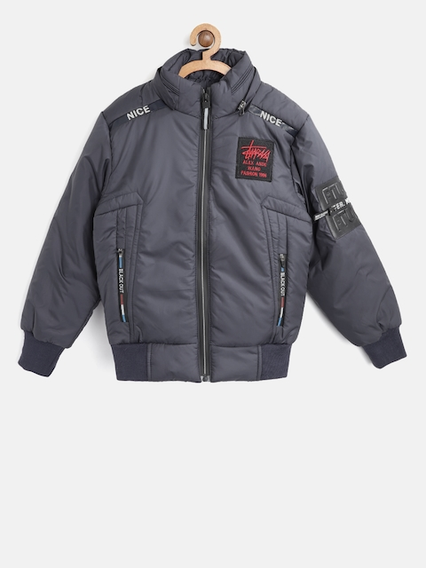 Fort Collins Boys Navy Blue Solid Bomber Jacket with Detachable Hood