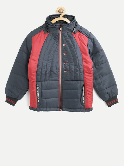 Fort Collins Boys Navy Blue Colourblocked Padded Jacket