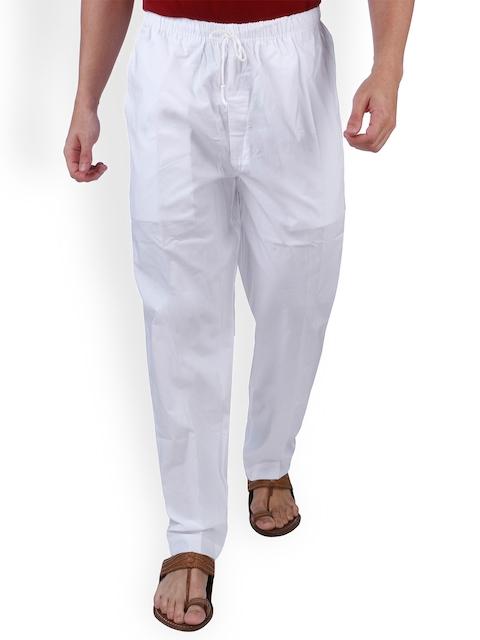 Rajubhai Hargovindas  Men White Solid Pyjamas