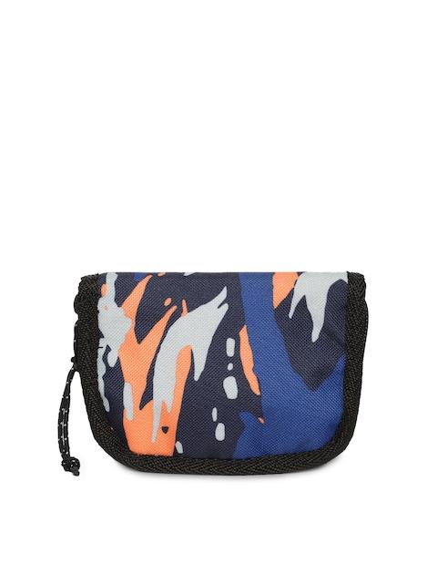 Puma Men Blue & Orange Printed Zip Around Wallet