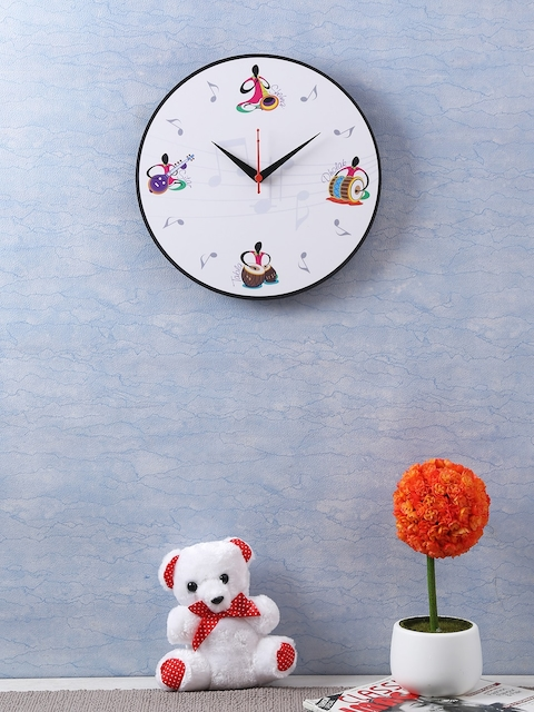 RANGRAGE White Handcrafted Round Printed Analogue Wall Clock
