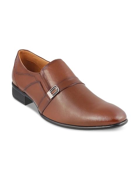 Mochi Men Tan Brown Formal Leather Slip-On Shoes